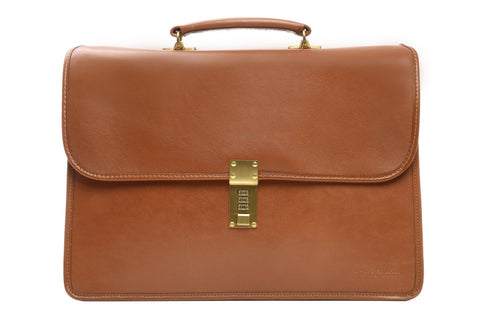 Elliot Lux Leather Double Gusset Flap Over Brief Bag