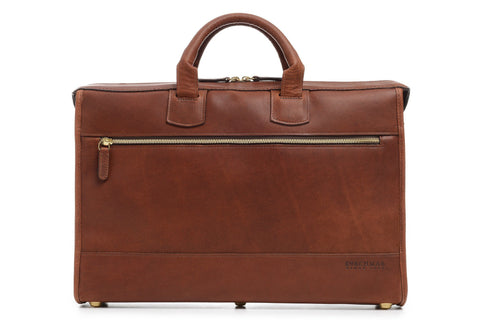 Sawyer All Leather Zippered Brief | Grain Leather | Made in USA | Korchmar-Brief Bag-Sterling-and-Burke
