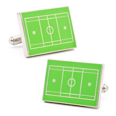 Novelty Cufflinks | Lacrosse Field Cufflinks | Green | Sterling and Burke | Made in England