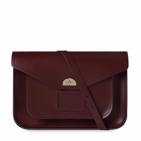Large Twist Lock Satchel, Oxblood