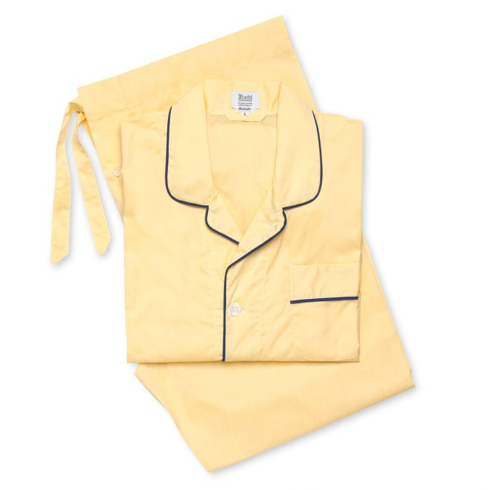 Budd Batiste Men's Pajamas in Lemon and Navy-Pajamas-Sterling-and-Burke