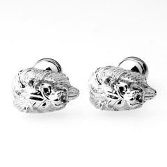 Lion Head Cufflinks with Black Eyes | Silver-Cufflinks-Sterling-and-Burke