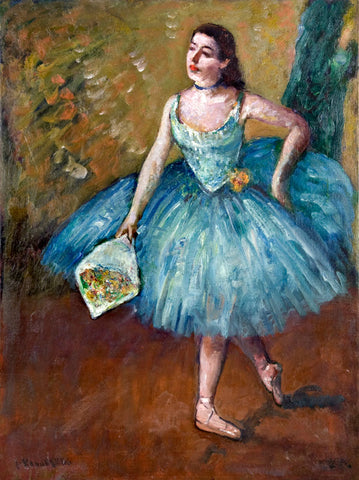 "Antique Oil Painting on Panel | Ballerina in Blue (Curtain Call) by Louis Kronberg | 28.75"" x 22.25""-Oil Painting-Sterling-and-Burke"