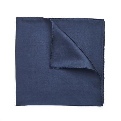 Budd Plain Silk Hand Rolled Pocket Square in Navy