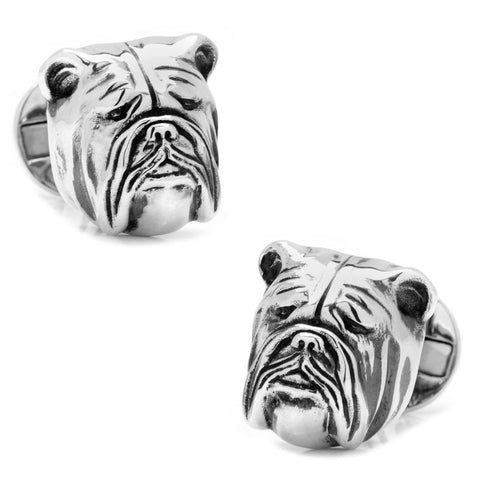 Georgetown Univ | Bulldog Cufflinks | Sterling Silver | GU Jack the Bulldog Cuff Links