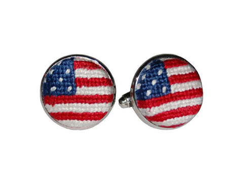 Old Glory Needlepoint Cufflinks | USA Flag Cufflinks | American Flag Cufflinks | Smathers and Branson