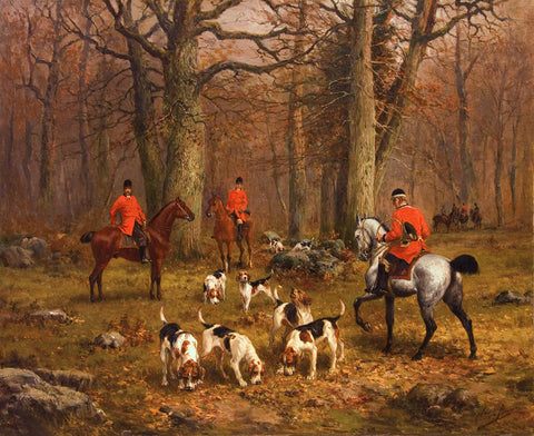 "Antique Oil Painting | La Chasse (The Hunt) by Olivier Penne | 33"" x 38"""