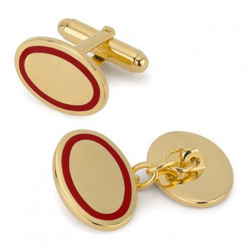 Oval Gold T-Bar Cufflinks | Red | Made in England | Sterling and Burke