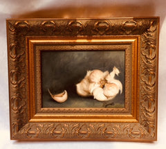 "Art | Oil Painting | Garlic by NGA Copyist Pamela Jarrett | 5"" x 7""-Oil Painting-Sterling-and-Burke"