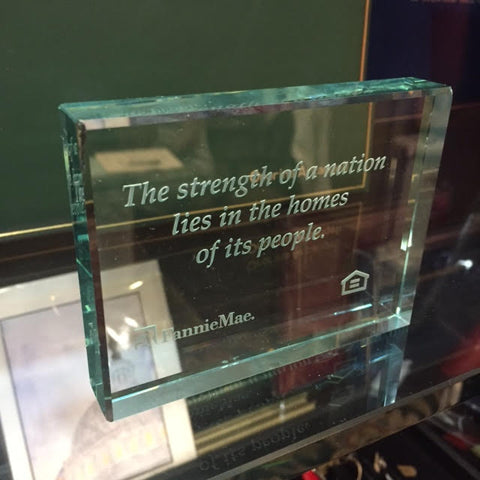 Rectangular Crystal Paper Weight / Award Custom Made with Deep Etching