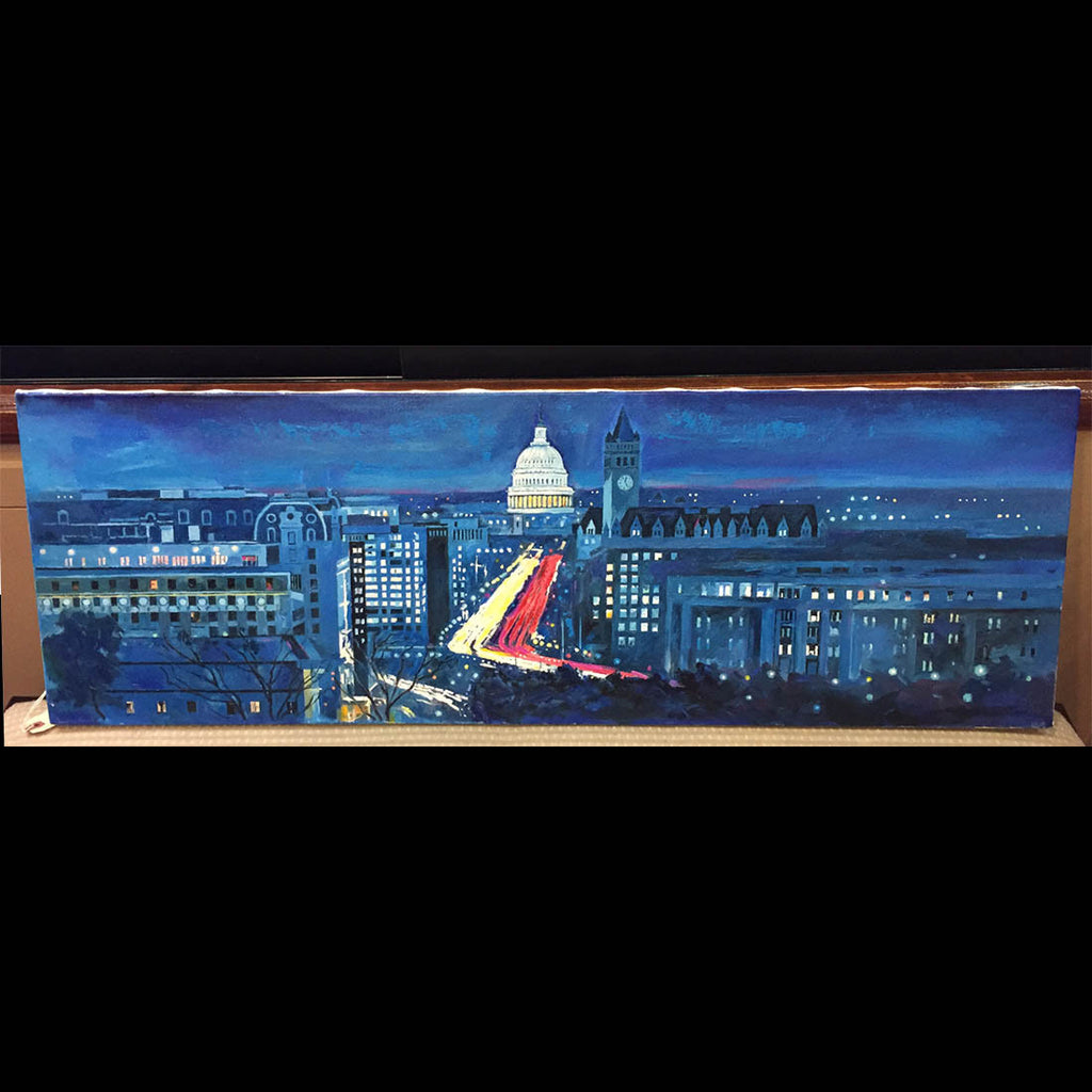 "Pennsylvania Ave Panorama | Washington, DC Art | Original Oil and Acrylic Painting on Canvas by Zachary Sasim | 12"" by 36"" 