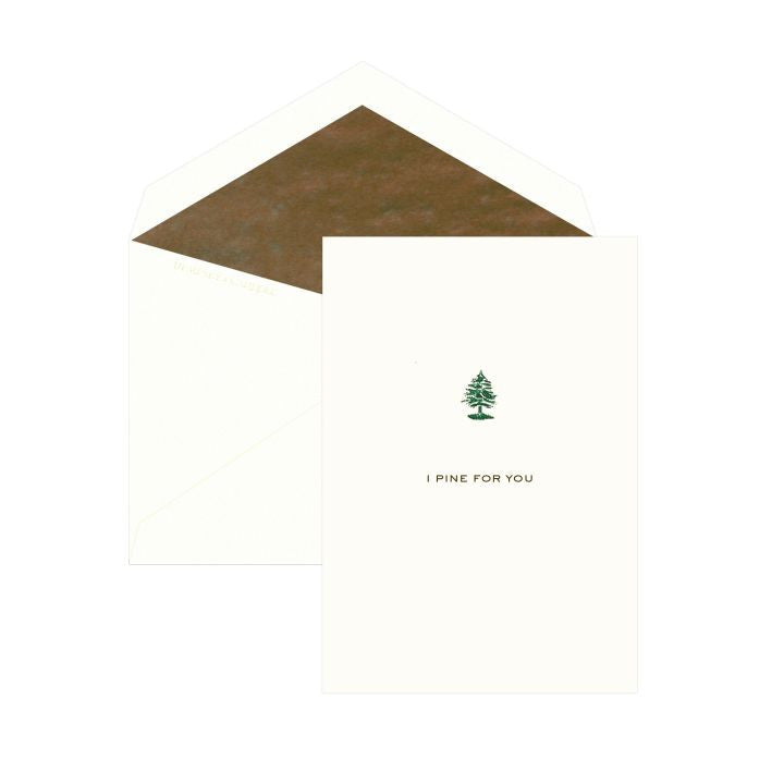 """I Pine For You"" Single Love Card hand engraved by Dempsey & Carroll-Stationery-Sterling-and-Burke"