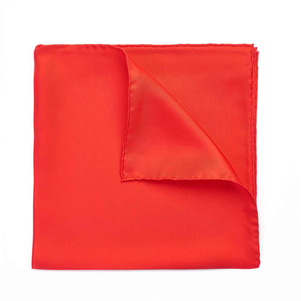 Budd Plain Silk Hand Rolled Pocket Square in Red-Pocket Square-Sterling-and-Burke