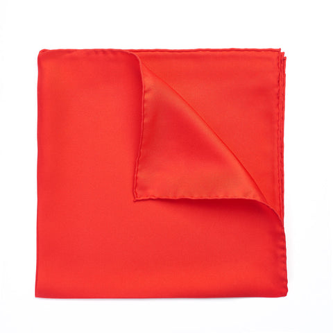Budd Plain Silk Hand Rolled Pocket Square in Red