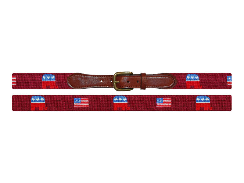 Needlepoint Collection | Republican Needlepoint Belt | Garnet | Smathers and Branson-Belt-Sterling-and-Burke