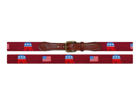 Republican Needlepoint Belt, Garnet