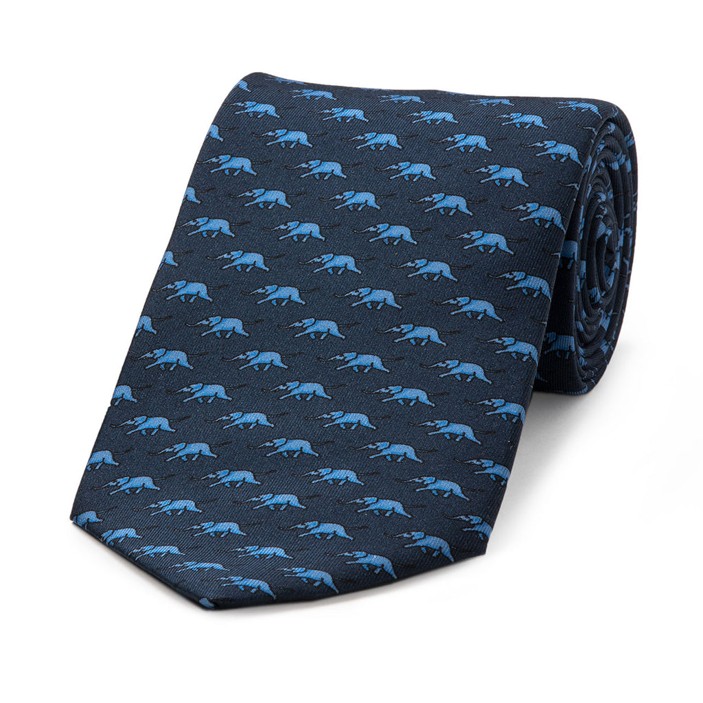 Running Elephant Motif Foulard | Navy and Blue | Silk Tie | Budd Shirtmakers | Made in England-Necktie-Sterling-and-Burke