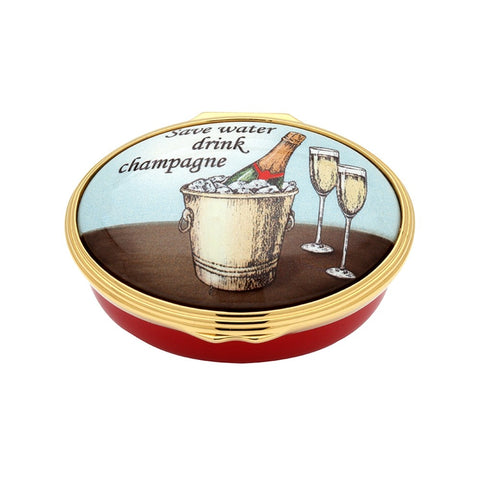 Halcyon Days Save Water, Drink Champagne Enamel Box-Enamel Box-Sterling-and-Burke
