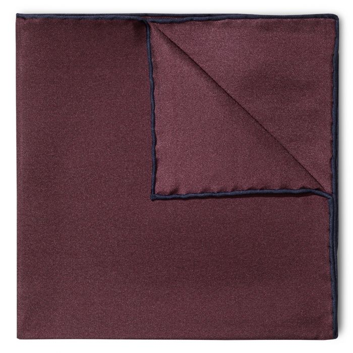 Budd Shoe Lace Silk Handkerchief in Wine & Navy-Pocket Square-Sterling-and-Burke