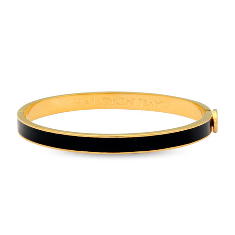 Enamel Bangle | 6mm Skinny Plain Black and Gold Bangle | Halcyon Days | Made in England-Bangle-Sterling-and-Burke
