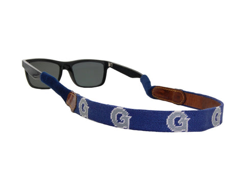 Needlepoint Collection | Georgetown University Needlepoint Sunglasses Strap / Croakie | Hoya | Blue and Grey | Smathers and Branson