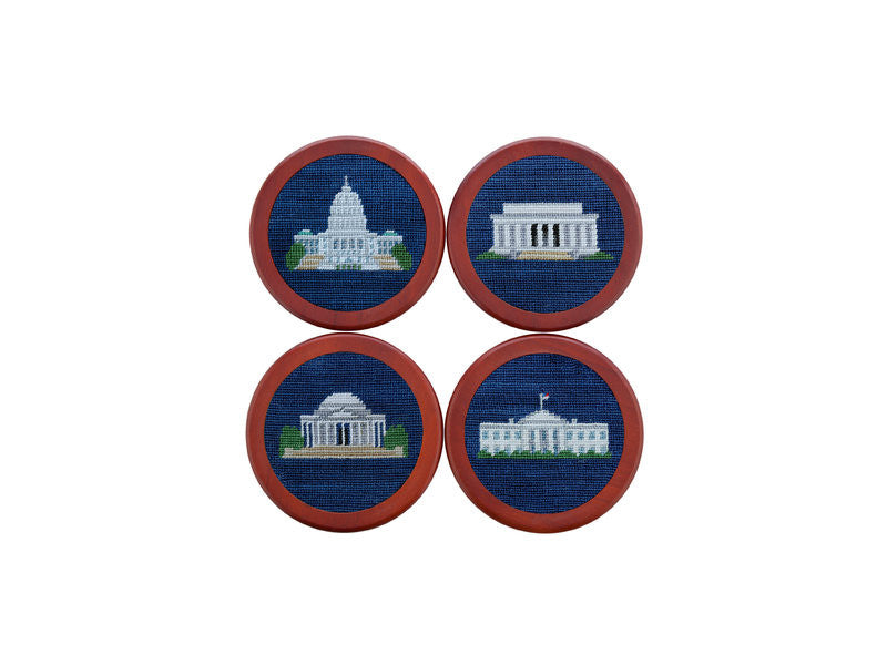 Needlepoint Collection | DC Monuments Needlepoint Coaster Set | Smathers and Branson-Coasters-Sterling-and-Burke
