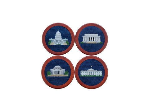 Needlepoint Collection | DC Monuments Needlepoint Coaster Set | Smathers and Branson