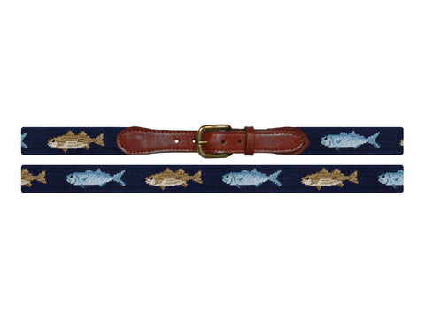 Needlepoint collection | Blue Fish and Striper Needlepoint Belt | Smathers and Branson-Belt-Sterling-and-Burke