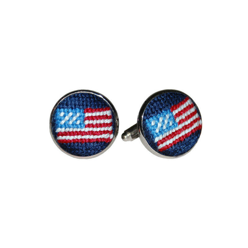 Needlepoint Collection | American Flag Needlepoint Cufflinks | Smathers and Branson-Cufflinks-Sterling-and-Burke