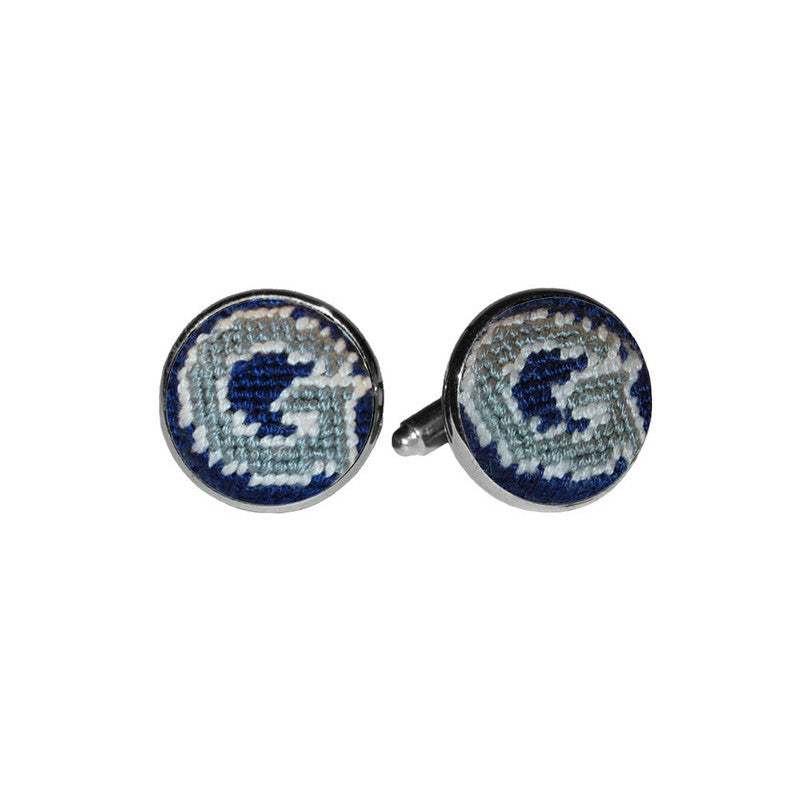 Needlepoint Collection | Georgetown University Needlepoint Cufflinks | Hoya | Blue and Grey | Smathers and Branson-Cufflinks-Sterling-and-Burke