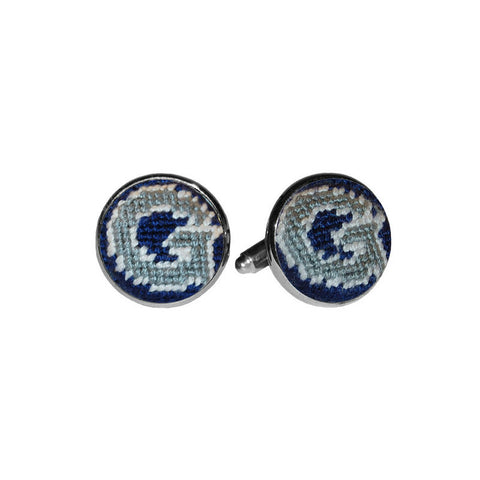Needlepoint Collection | Georgetown University Needlepoint Cufflinks | Hoya | Blue and Grey | Smathers and Branson