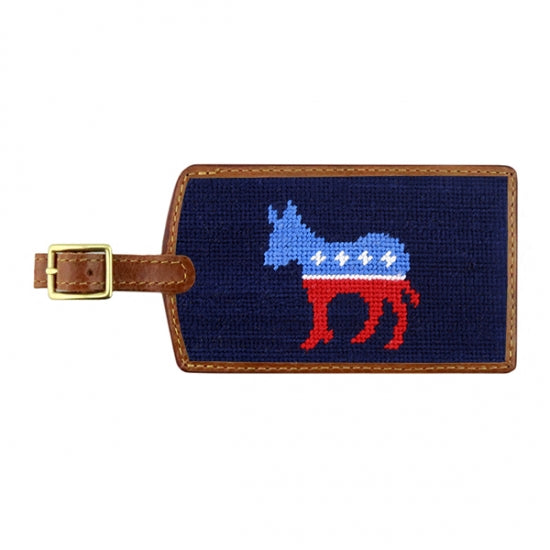 Needlepoint Collection | Democrat Needlepoint Luggage Tag | Dark Navy | Smathers and Branson-Luggage Tag-Sterling-and-Burke