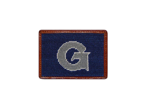 Needlepoint Collection | Georgetown University Needlepoint Card Wallet | Hoya Logo | 4 by 3 Inch | Blue and Grey | Smathers and Branson