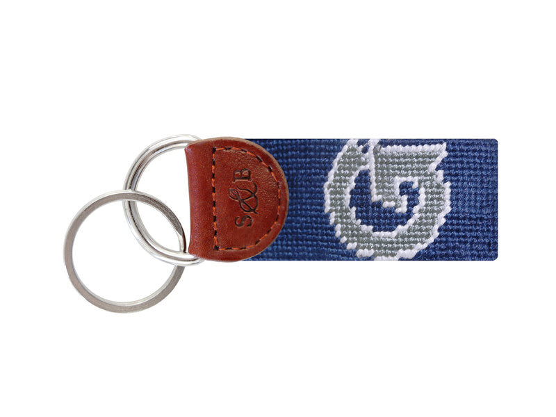 Needlepoint Collection | Georgetown University Needlepoint Key Fob | Hoya | Blue and Grey | Smathers and Branson-Key Fob-Sterling-and-Burke