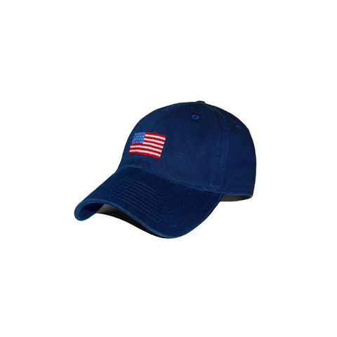 American Flag Hat | USA Flag Ball Cap | Needlepoint Flag Hat | Navy | Smathers and Branson