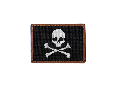 Needlepoint Collection | Skull and Crossbones Needlepoint Card Wallet | Jolly Roger Skull and Crossbones Design | 4 by 3 Inch | Black and White | Smathers and Branson