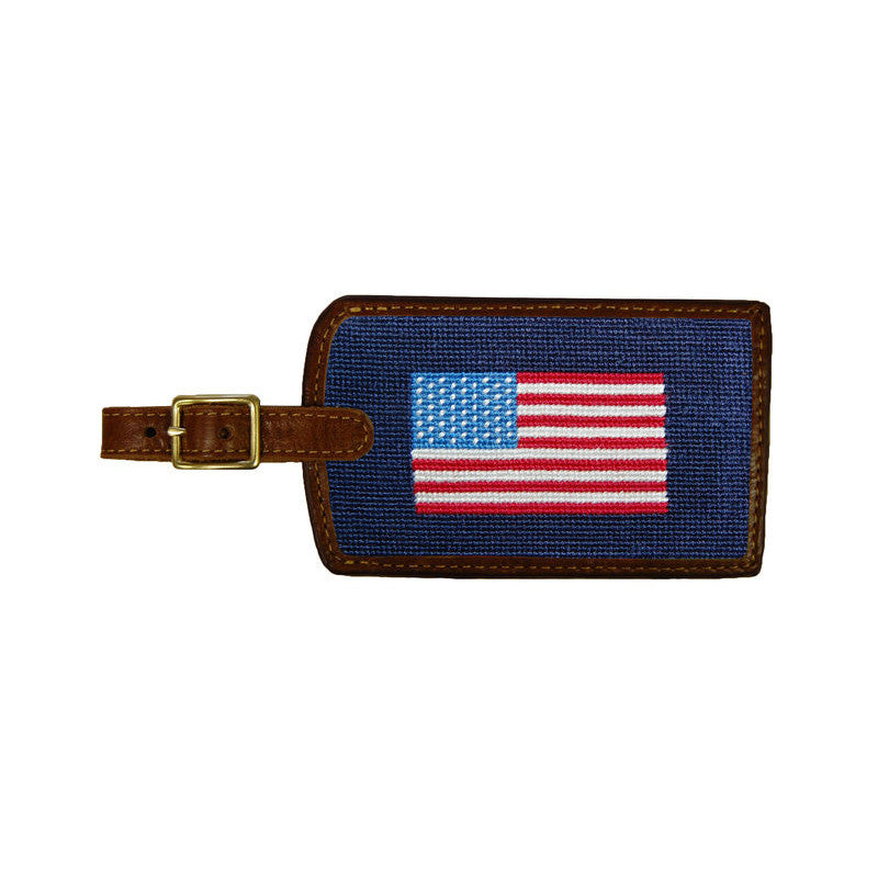 Needlepoint Collection | American Flag Needlepoint Luggage Tag | Smathers and Branson-Luggage Tag-Sterling-and-Burke