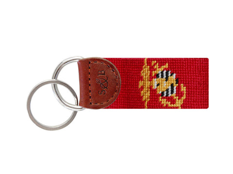 Marine Corp Needlepoint Key Fob-Key Fob-Sterling-and-Burke