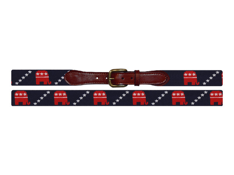 Needlepoint Collection | Republican Needlepoint Belt | Midnight Navy | Smathers and Branson-Belt-Sterling-and-Burke