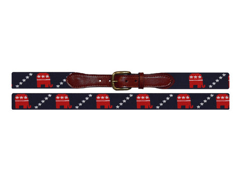Republican Needlepoint Belt, Midnight Navy