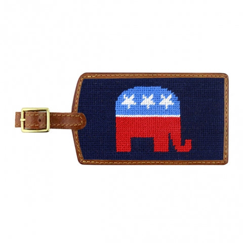 Needlepoint Collection | Republican Needlepoint Luggage Tag | Dark Navy | Smathers and Branson-Luggage Tag-Sterling-and-Burke