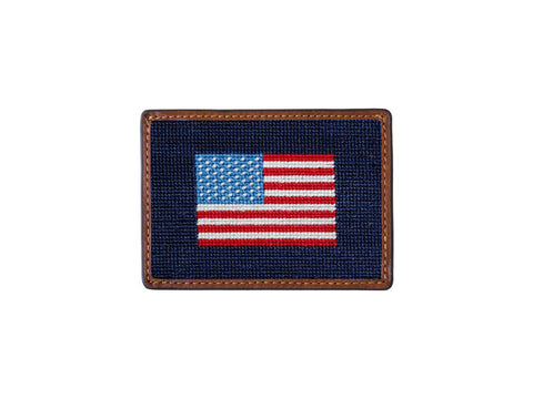 Needlepoint Collection | American Flag Needlepoint Card Wallet | 4 by 3 Inch | Smathers and Branson