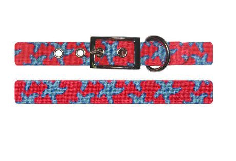 Needlepoint Collection | Starfish Needlepoint Dog Collar | Red and Blue | Smathers and Branson