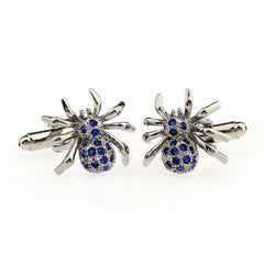 Spider Cufflinks | Blue | Silver with Crystal Faux Diamonds | Sterling and Burke-Cufflinks-Sterling-and-Burke