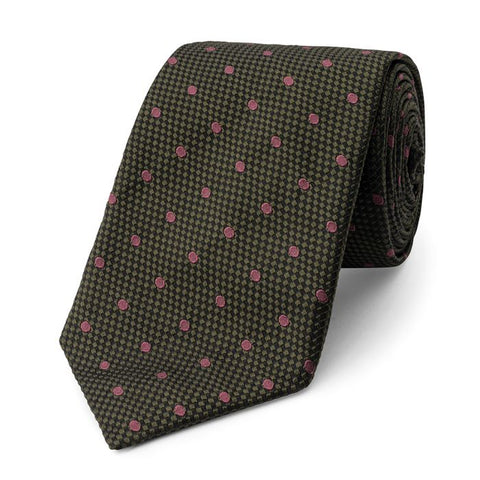 Budd Spot On Heavy Textured Base Silk Tie in Green, Rose & Pink-Necktie-Sterling-and-Burke