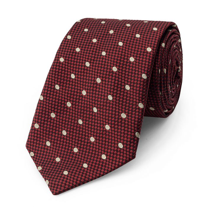 Budd Spot On Heavy Textured Base Silk Tie in Red & Ivory-Necktie-Sterling-and-Burke