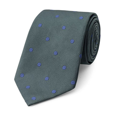 Budd Spot On Wavy Silk Tie in Green & Blue