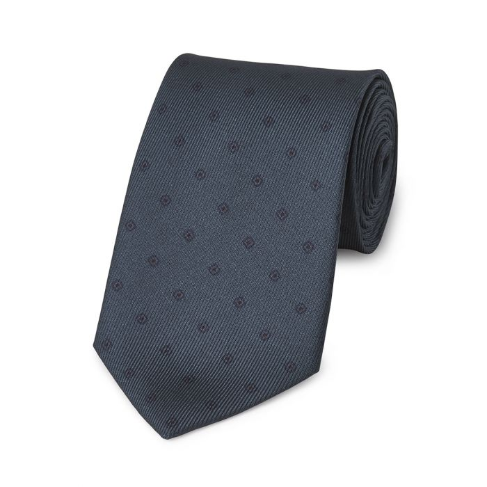 Budd Square with Inner Dot 50oz Silk Tie in Blue-Necktie-Sterling-and-Burke