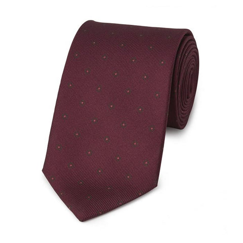 Budd Square with Inner Dot 50oz Silk Tie in Burgundy-Necktie-Sterling-and-Burke