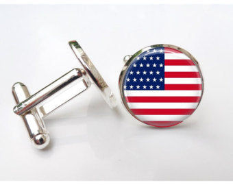 Stars and Stripes Cufflinks | Round American Flag Cuff Links | USA Flag Cufflinks-Cufflinks-Sterling-and-Burke